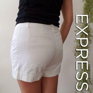 EXPRESS Editor white denim shorts
